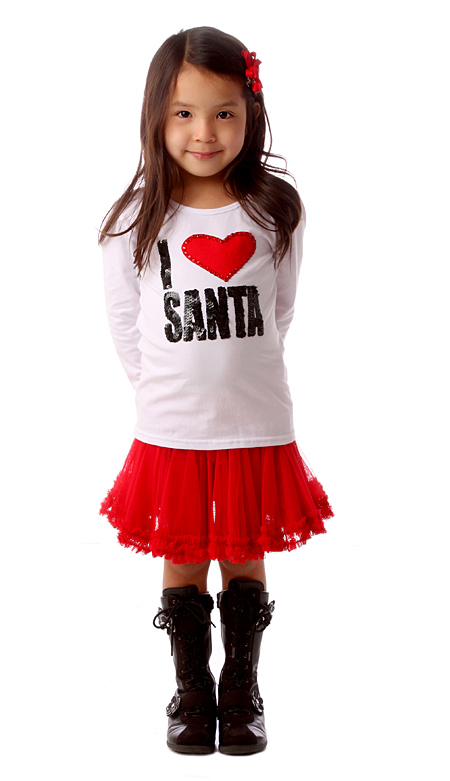 Haven-Girl-White-I-love-Santa-tee-red-skirt